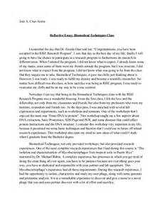Reflective Essay Thesis by Reflective Essay Biomedical Techniques