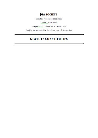 exemple statuts eurl