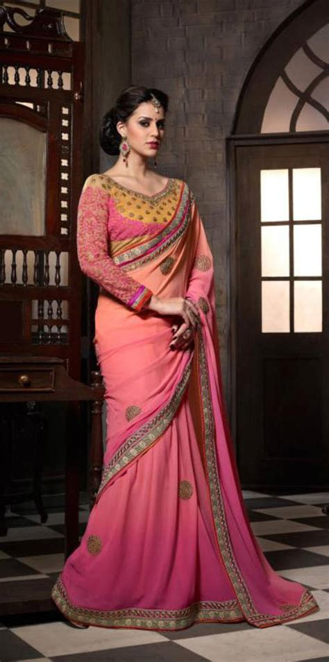 Tripa Blouse 1 buy pink embroidered georgette fancy saree with blouse