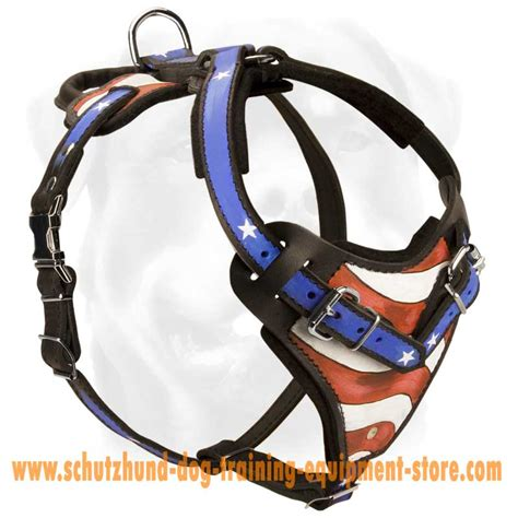 Handmade Harness - schutzhund leather harness h1ap 1096 painted leather
