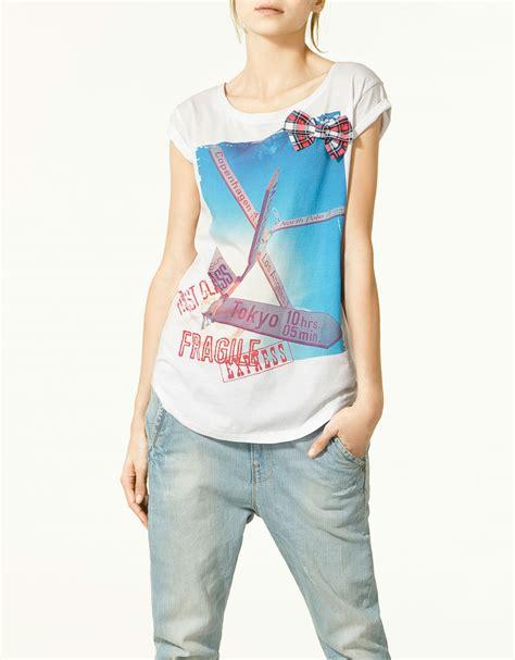 Preloved Zara Tshirt zara t shirt with bow appliqu 233 in lyst