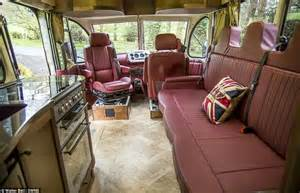 Cabin House Plans Covered Porch vintage bedford ob bus transformed into luxury motor home