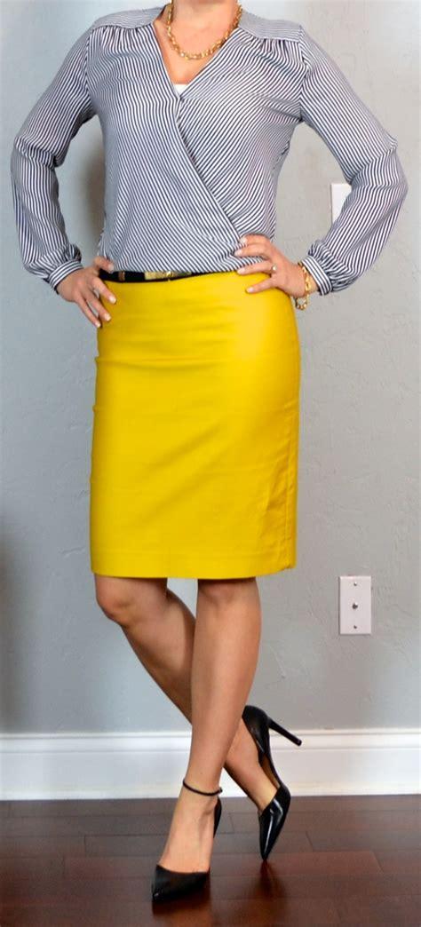post mustard pencil skirt striped crossover