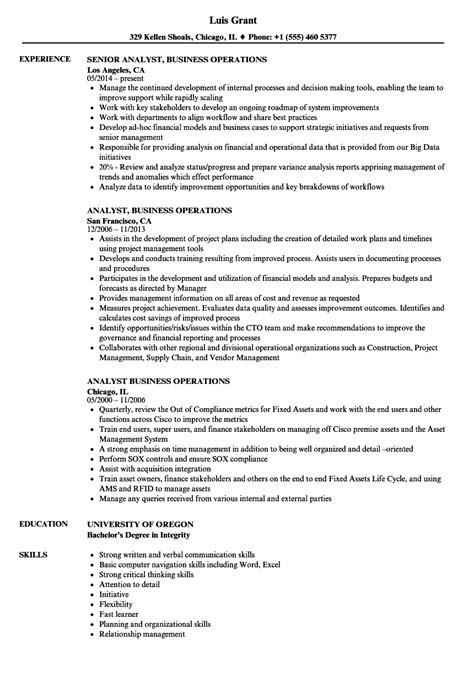 analyst business operations resume sles velvet