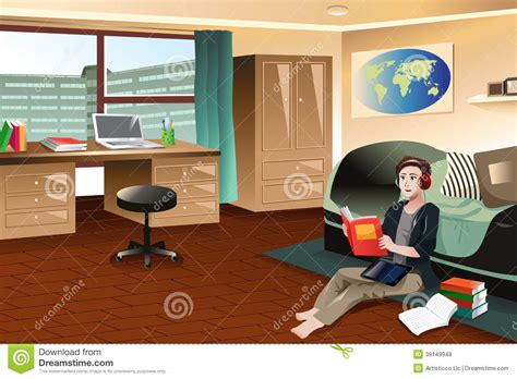 college student studying  dorm stock vector image