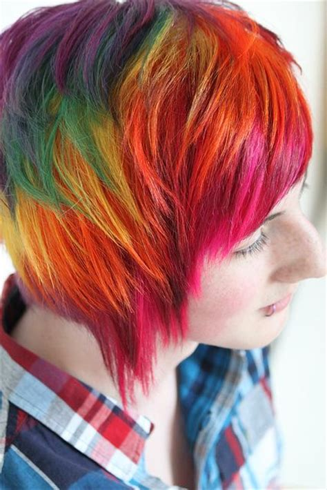 dye hairstyles for short hair rainbow hair color strayhair