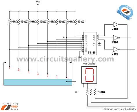 water tank level controller circuit diagram numeric water level indicator liquid level sensor circuit