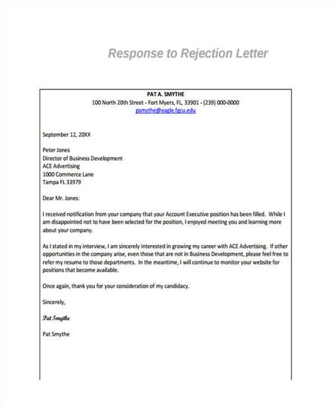 Rejection Letter Response 10 Standard Rejection Letter Sle Exle Free Premium Templates