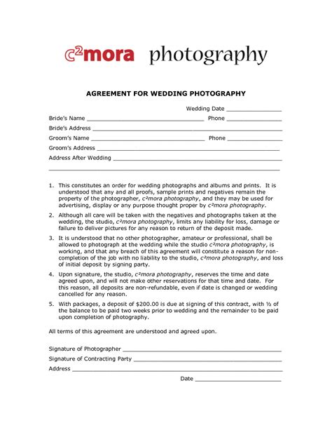 wedding photography contract template free printable