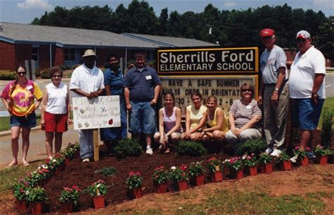 Sherrills Ford Elementary cvcc circle k club does landscaping at sherrills ford