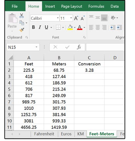 11 feet to meters how excel can help with metric and american standard