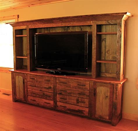 made rustic entertainment center by custom rustic