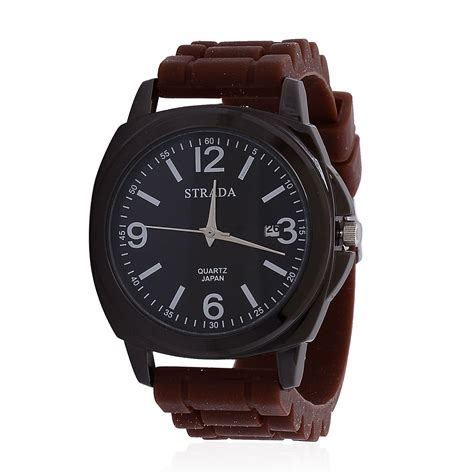 strada japanese movement with brown silicone band