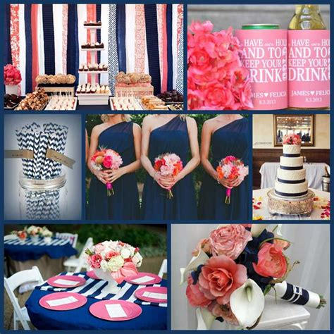 navy and coral wedding ideas a pop of color goes a way the blessed llc