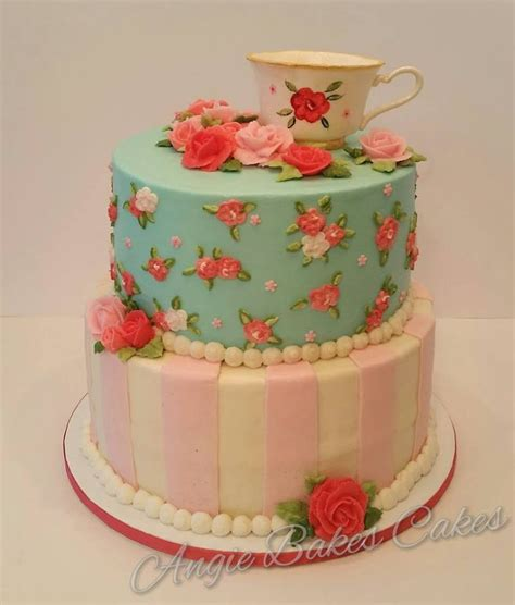 vintage themed birthday cakes vintage china tea party themed cake with handmade