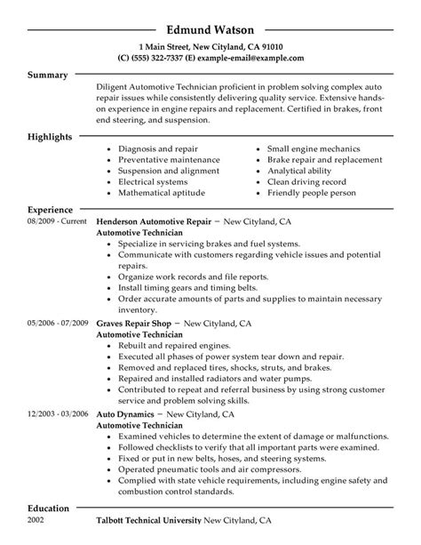 Mechanic Resume Template by Car Mechanic Resume Auto Skills Automotive Technician Pdf