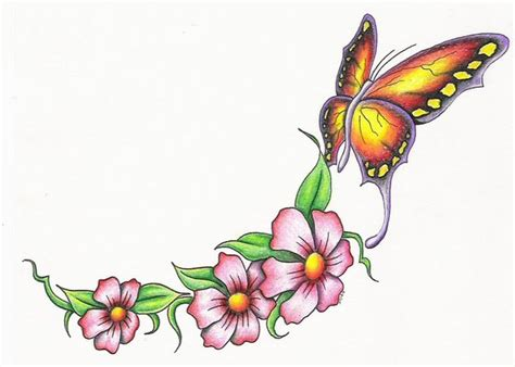 design flower and butterfly yellow butterfly tattoo design with flowers tattooshunt com