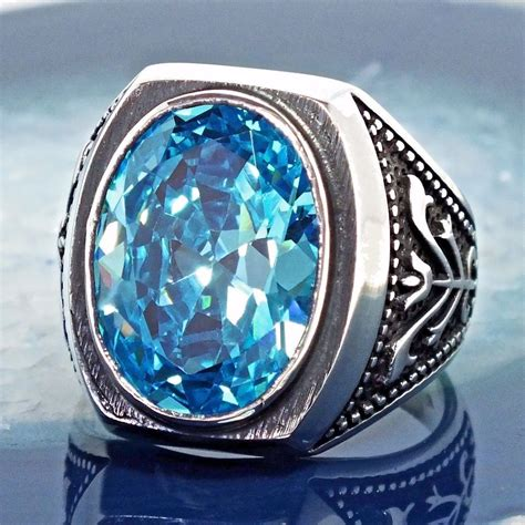 925 sterling silver mens ring swiss blue topaz unique