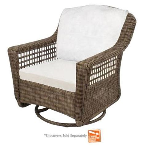 hton bay grey wicker patio swivel rocker