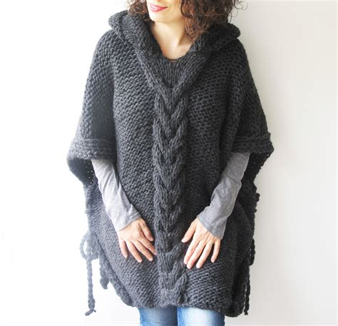 cable knit poncho gray plus size cable knit poncho with hoodie by afra