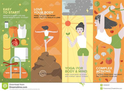 banner design for yoga yoga life for body and mind flat banner set stock vector