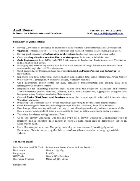 sle resume for net developer with 2 year experience informatica sle resume 28 images 28 sle informatica