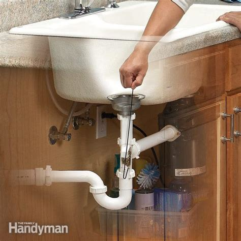 How To Unclog Kitchen Sink Drain With Garbage Disposal Unclog A Kitchen Sink The Family Handyman