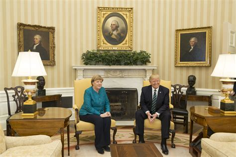 trump redecorates oval office file angela merkel and donald trump in the oval office
