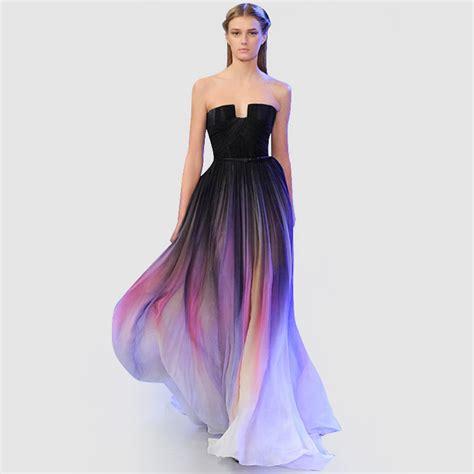 Dress Ombre 2016 ombre strapless floor length chiffon abendkleider vestidos de noche traje de gala evening
