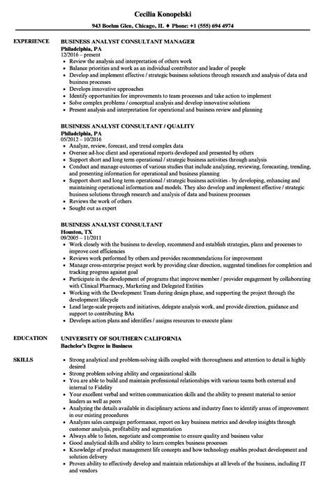 business analyst consultant resume sles velvet