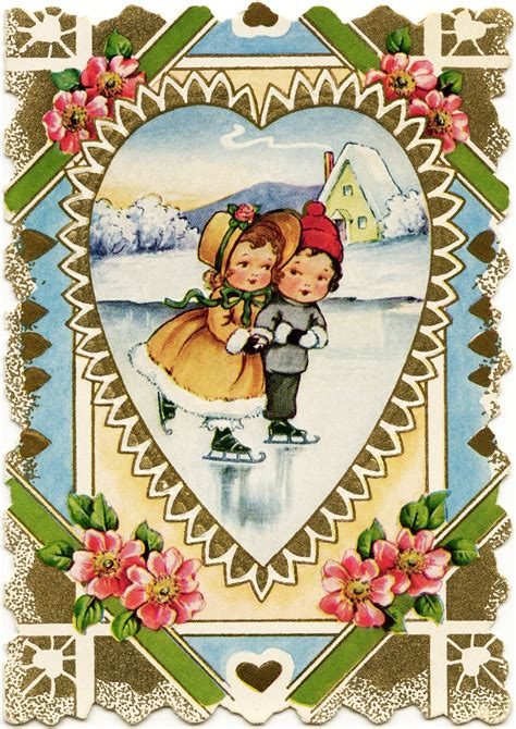 printable victorian images girl and boy skating free victorian valentine old