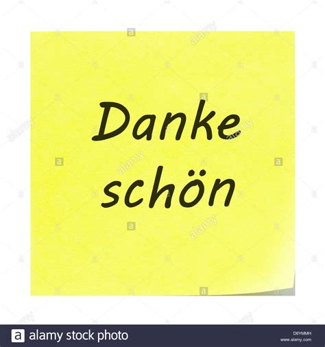 danke sch 246 n written on a yellow sticky note post it note with the stock photo royalty free