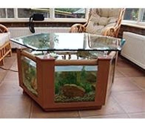 coffee table fish tank 299l hexagonal design in beech