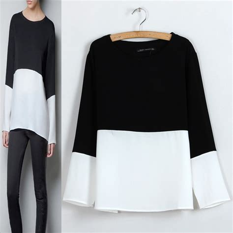Hq 12315 White Low Shoulder Knit Top black and white s blouses smart casual blouse
