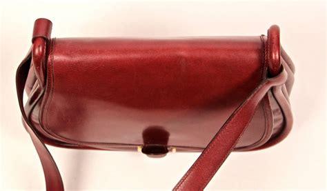 hermes saddle bag 1974 hermes burgundy box leather saddle bag with gold