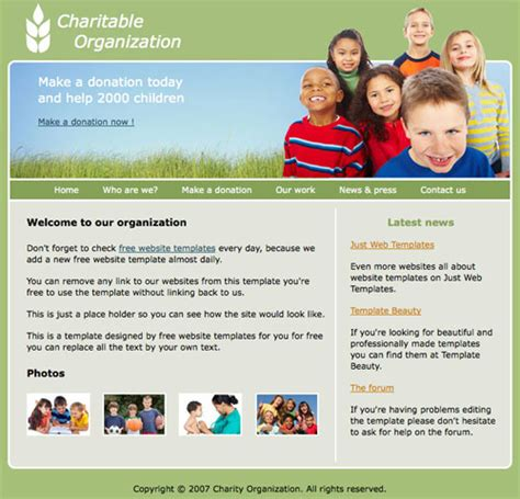 Charity Template Free Website Templates Charity Web Templates