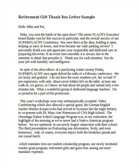 thank you letter for retirement 69 thank you letter exles