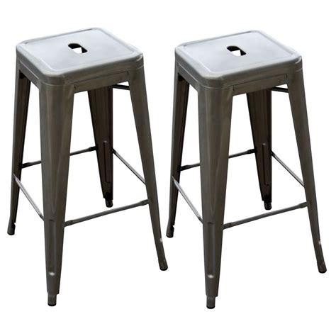architect gunmetal bar stool buy metal bar stools amerihome loft 30 in gunmetal silver bar stool set of 2