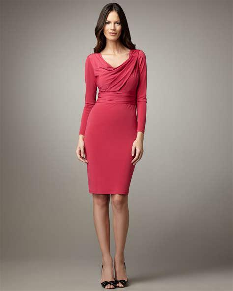 lyst david meister sleeve cowl neck dress in purple