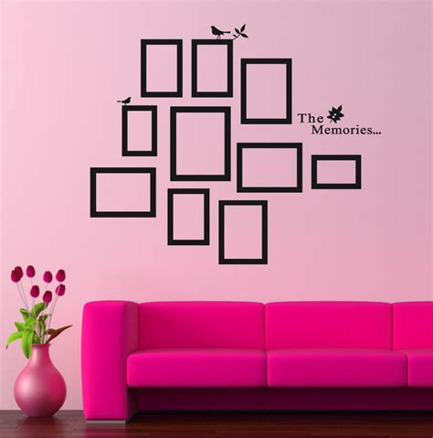 Wall Decals For Living Room Diy Photo Frame Black Removable Vinyl Wall Stickers