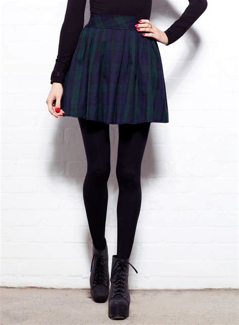 green tartan high waisted skater skirt with a tight