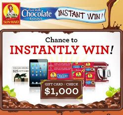 Sun Maid Sweepstakes - sun maid 174 pure milk chocolate covered raisins instant win game win 1 000