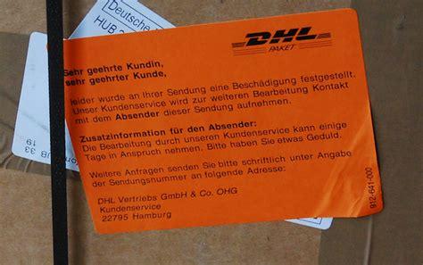 Paket Zerbrechlich Aufkleber Dhl by Dhl Was Unsere Behandlung Nicht Aush 228 Lt Ist Schlecht