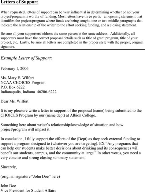 download letter of support template for free formtemplate