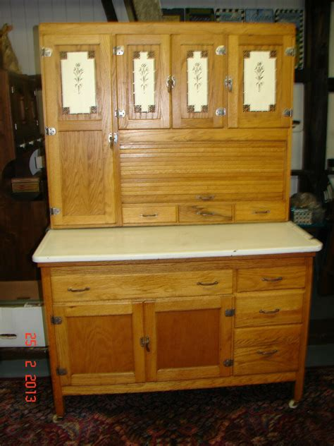 The Vintage Cupboard - antique oak hooiser kitchen cabinet w siffter