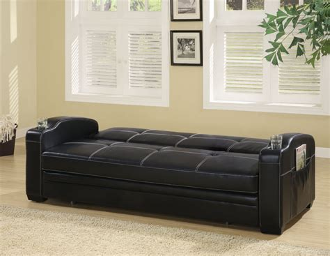 Vinyl Sofa Bed Contemporary Black Vinyl Sofa Bed By Coaster