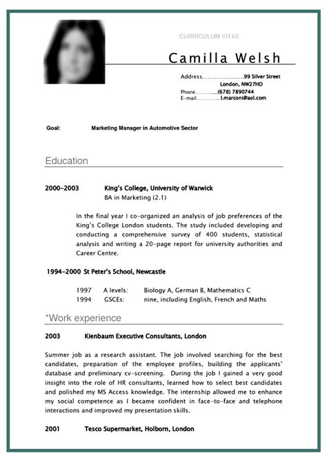 cv curriculum vitae student sle for marketing manager