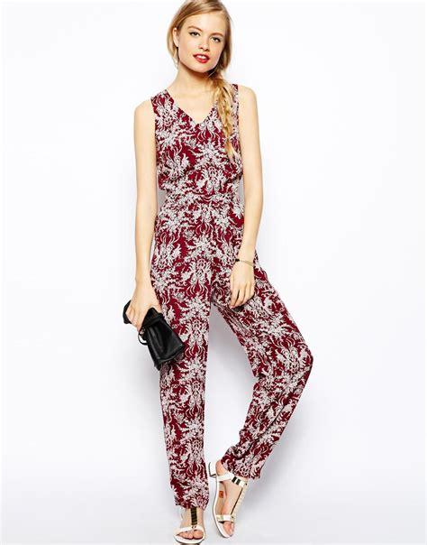 flower design jumpsuit asos bow back floral jumpsuit in red lyst