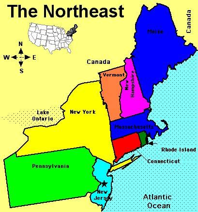 northeast us area code map northeast region map my
