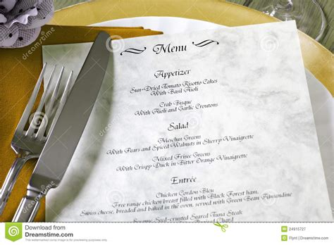 The Table Restaurant Menu Menu And Cutlery On Restaurant Table Royalty Free Stock